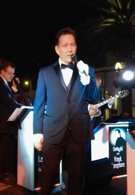 Rat Pack tribute band singer Frank Lamphere on stage at the Palms Resort & Casino