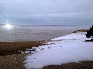 Receding glacier? No, but a chilly, February, Lake Michigan view from inside The Hobnob supperclub in Racine Wisconsin. The occasion, a fundraiser for SAFE Haven of Racine. Swingin' Rat Pack music provided by retro crooner Frank Lamphere's Rat Pack Jazz.