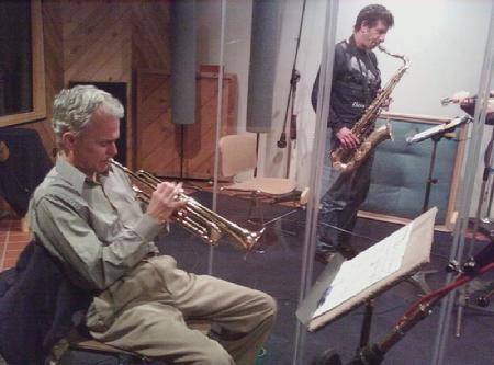 Trumpeter Art Davis and Eric Schneider with his alto sax preparing for their solos on Frank Lamphere's recording session