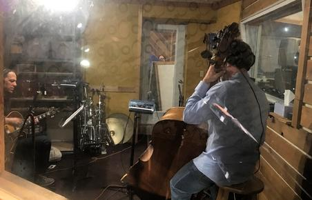 "Guitarist Andy Brown and bassist Dennis Carroll in the isolation booth recording tracks for Frank Lamphere's ""America Swinging"" CD"