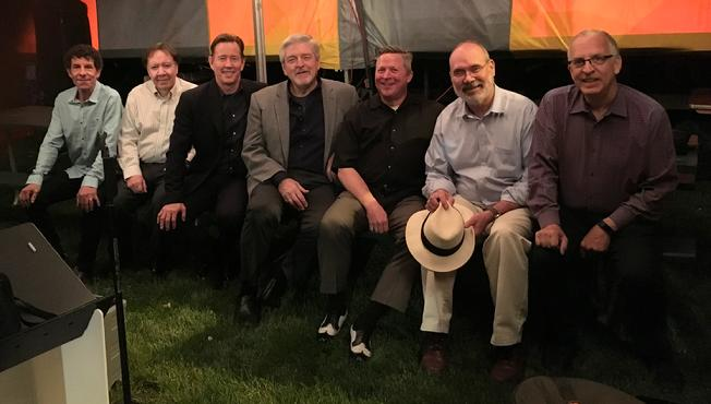 Frank Lamphere and his powerful six piece band at the Ottawa Two Rivers Wine and Jazz Fest 2018